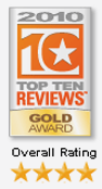 2010 top ten reviews gold award overall rating of four stars